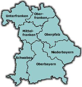 Karte Oberfranken Unterfranken Mittelfranken